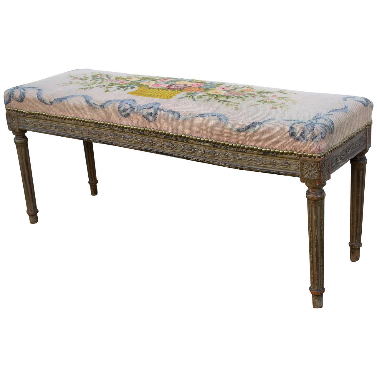 French Needlepoint Covered Louis Xvi Style Bench At 1stdibs