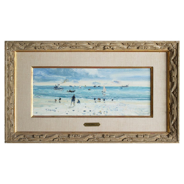 Plage au Havre, Oil on Canvas by Gaston Sebire For Sale