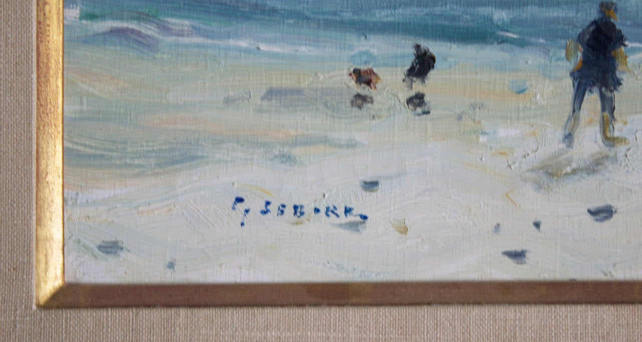 Other Plage au Havre, Oil on Canvas by Gaston Sebire For Sale