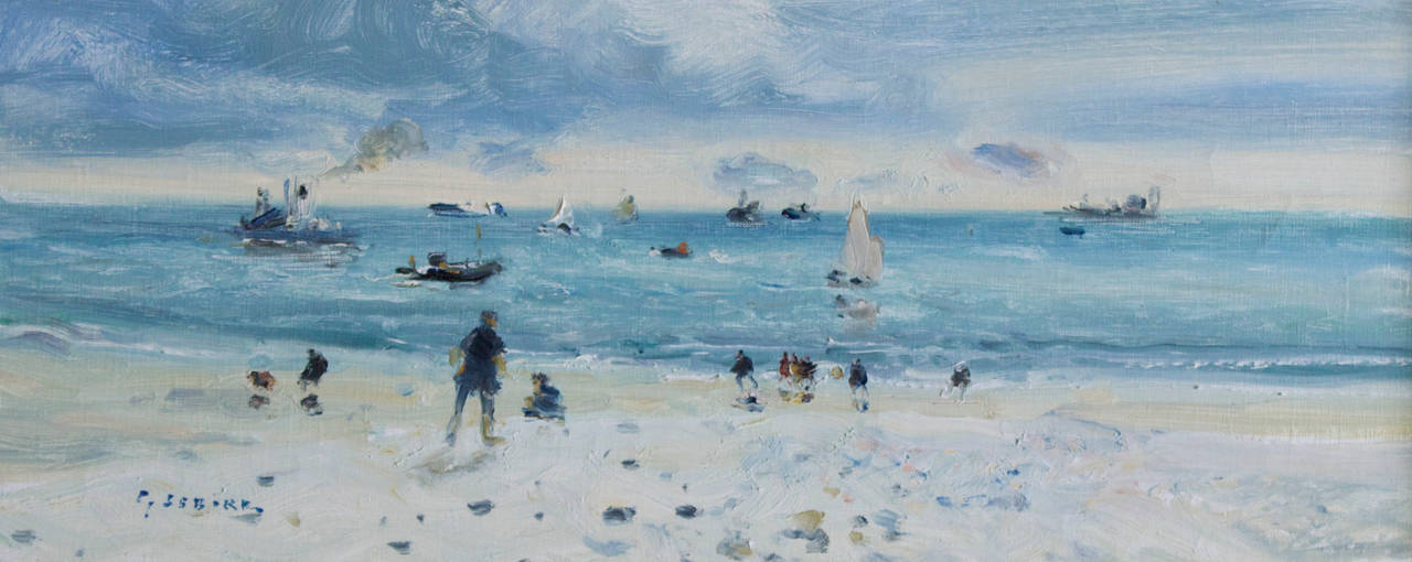 French Plage au Havre, Oil on Canvas by Gaston Sebire For Sale