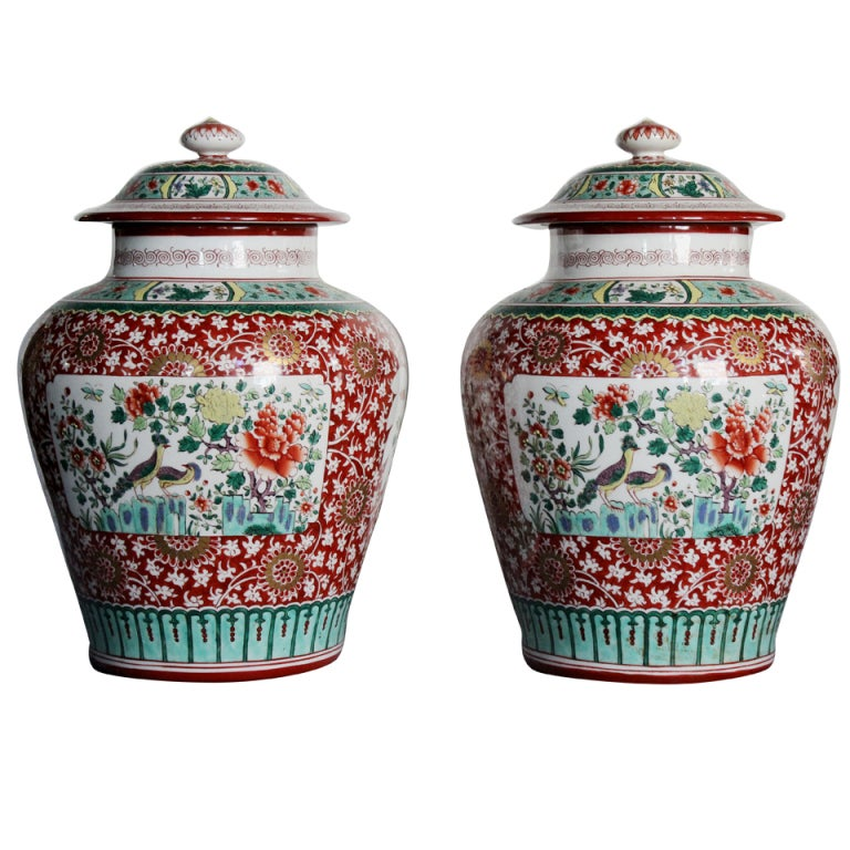 Pair of Chinese Porcelain Capped Vases