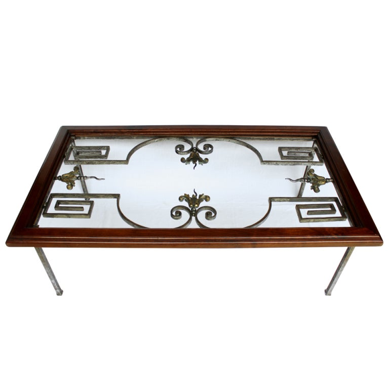 French forged steel coffee table for sale at stdibs
