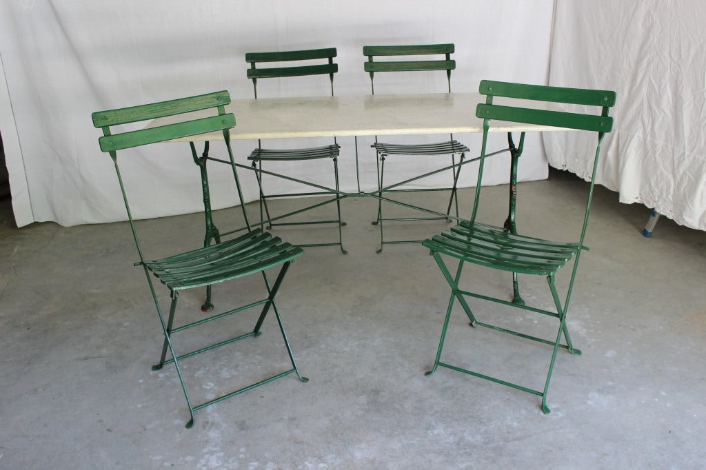 antique french bistro table and chairs image 2