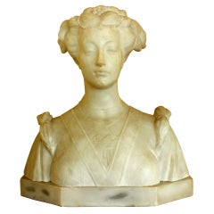 Carved Italian Marble Bust of a Woman