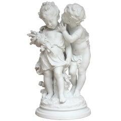 """Auguste Moreau """"Deux Enfants"""" Biscuit"""