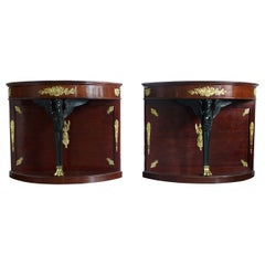 Pair of 19th Century French Empire, Demilune Console Tables