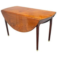 19th Century French Mahogany Round Drop-Leaf Table