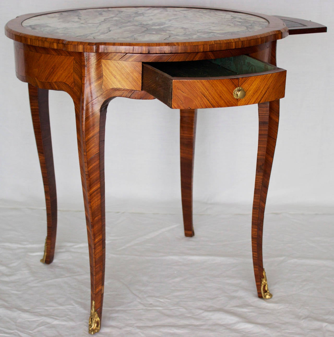 French marquetry louis xv style gueridon or center table for Table gueridon