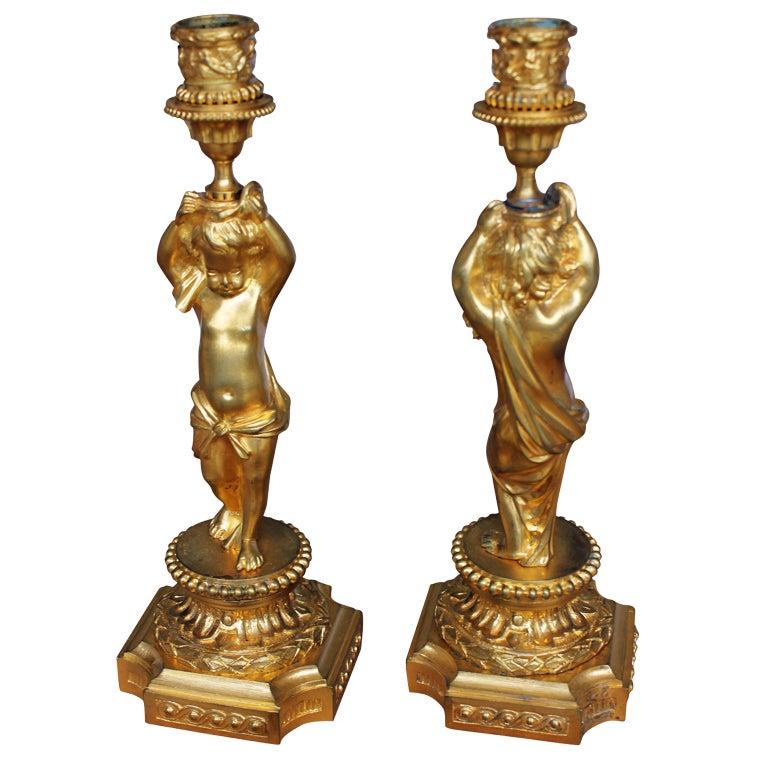 Pair of Louis XVI Style Bronze Doré Candlesticks