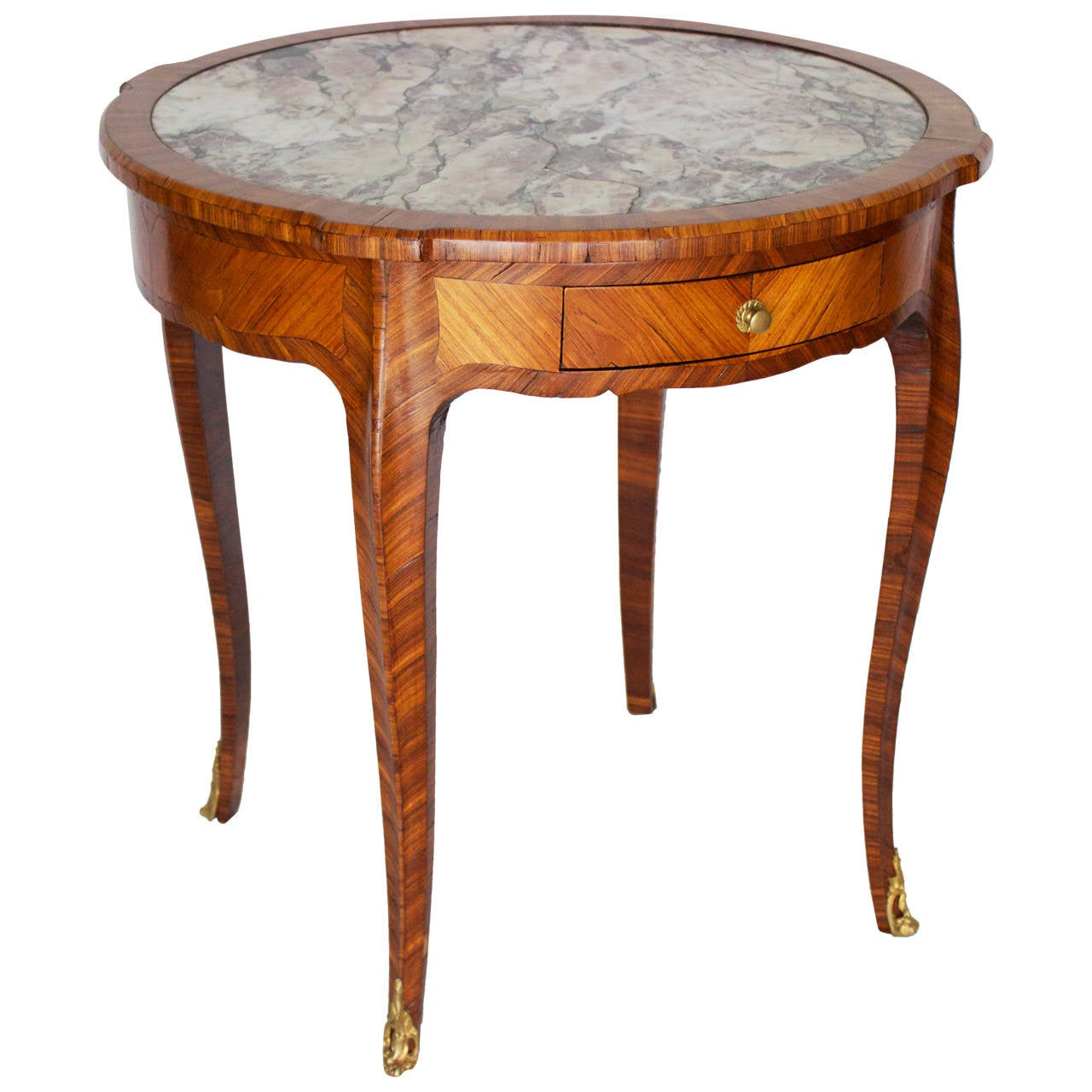 French marquetry louis xv style gueridon or center table with marble top for sale at 1stdibs - Table louis xv ...
