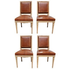 Set of 4 Louis XVI Style Leather Chairs
