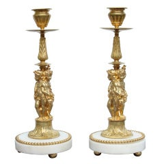 Pair of Superb Bronze Dore Candlesticks