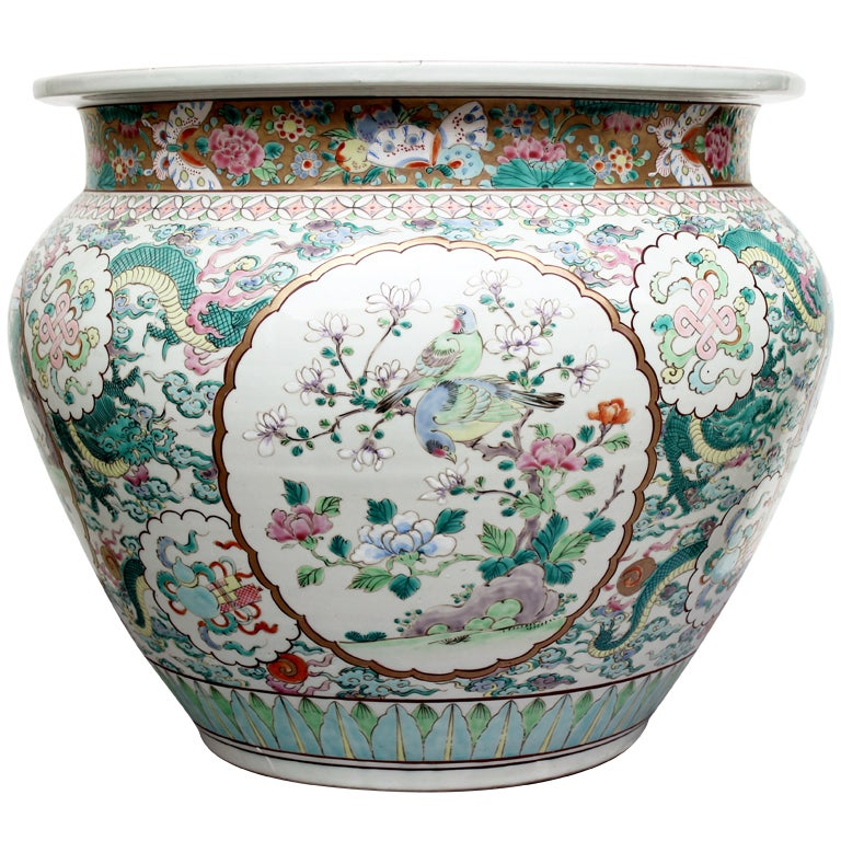 Antique chinese famille rose fish bowl or jardiniere at for Chinese fish bowl