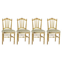 Set of Four Louis XVI Style Gilded Chairs