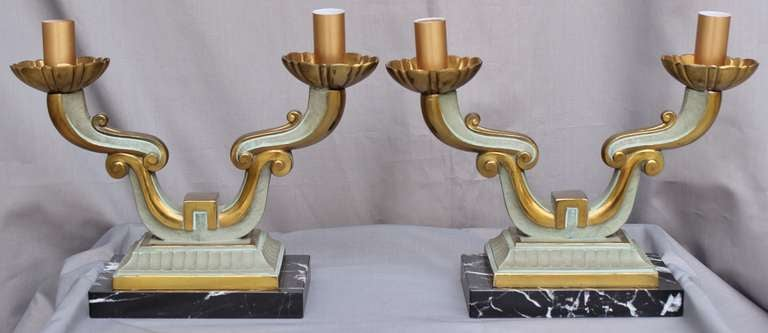 Pair of French Art Deco Lamps In Excellent Condition For Sale In Charleston, SC
