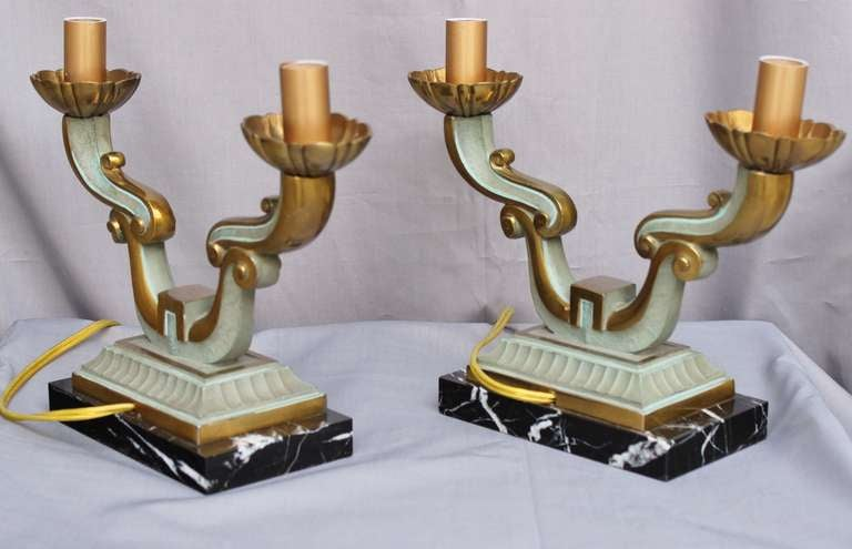 Mid-20th Century Pair of French Art Deco Lamps For Sale