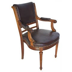 French Louis XVI Style Leather Top Desk Armchair