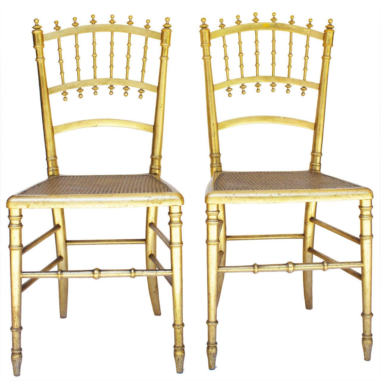 Pair of Napoleon III Gilded Chairs