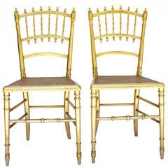 Pair of Napoleon III Gilded Chairs