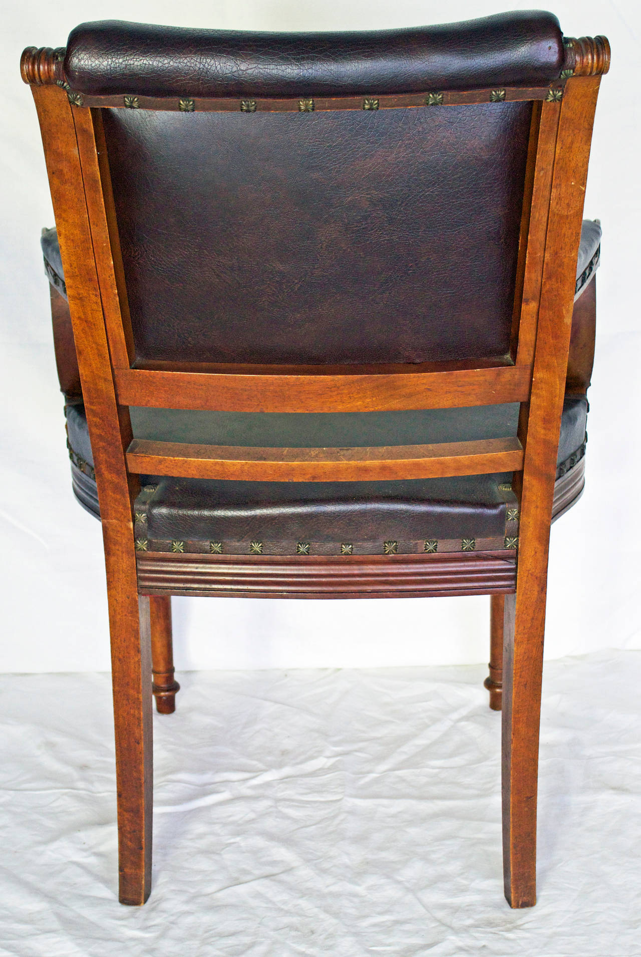 French Louis XVI Style Leather Top Desk Armchair For Sale ...