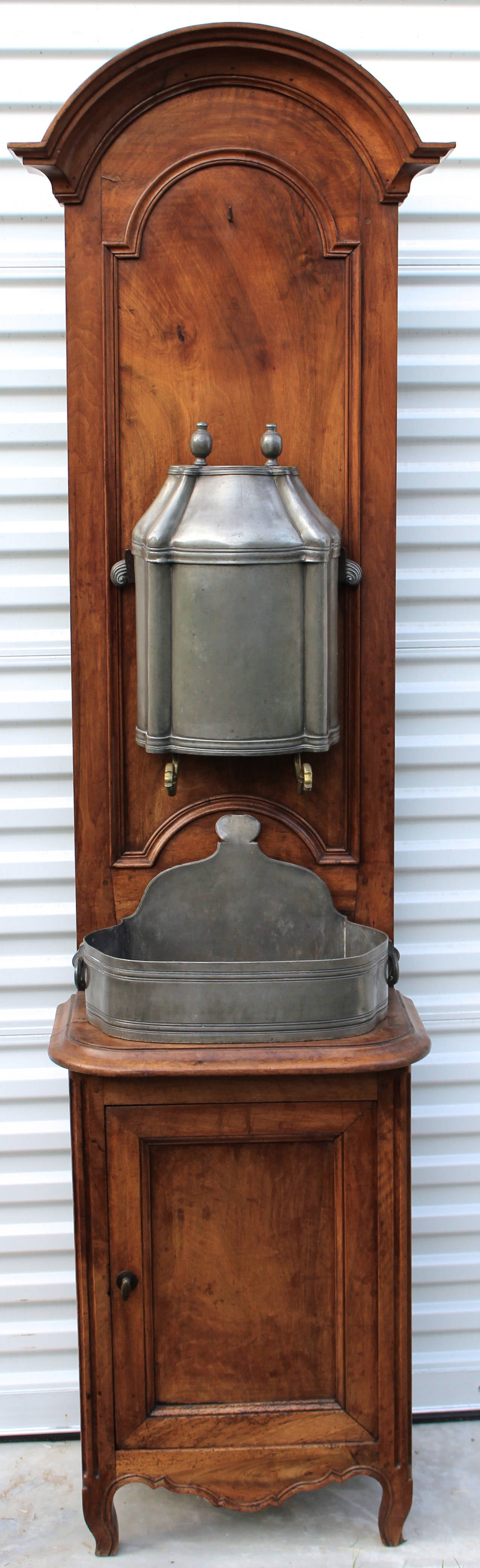 18th century inside pewter wall fountain or lavabo on its original