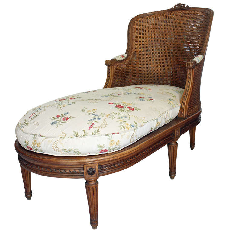 Louis xvi style caned chaise lounge at 1stdibs for Antique chaise lounge