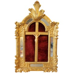 French Ivory Christ In a carved § gilded wood frame