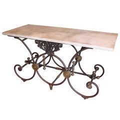 French Butcher Table with Marble Top