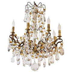 Eight-Light French Chandelier with Clear and Amber Crystals
