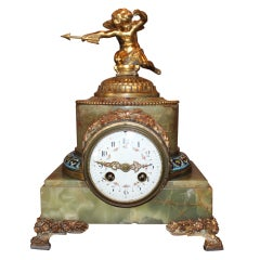 French Champleve and Onyx Mantel Clock