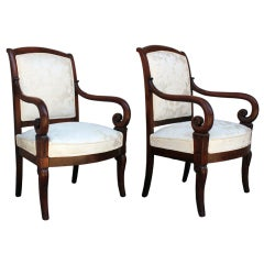 Restauration Period Mahogany Armchairs