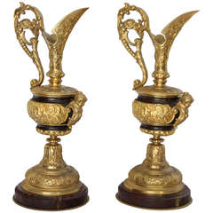 Pair of French Gilded Bronze Ewers