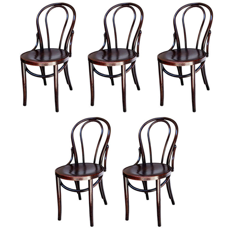 Set Of Five Thonet Style Parisian Bistro Chairs For