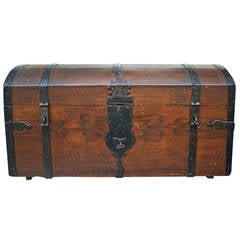 Napoleon Bonaparte Pd Wood & Iron Travel Trunk from France