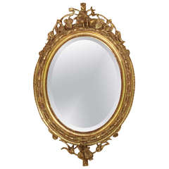 Louis XVI Style Oval Mirror from Napoleon III Period
