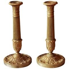 Pair of 1st Empire Gilded Bronze Candlesticks