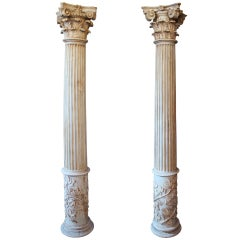 Almost Pair Of Fluted Columns With Corinthian Capitals
