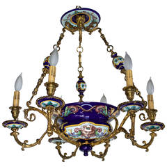 French 19th Century Bronze and Gien Faience Six Arms Chandelier