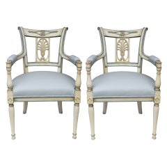 Pair of Directoire Lacquered Armchairs