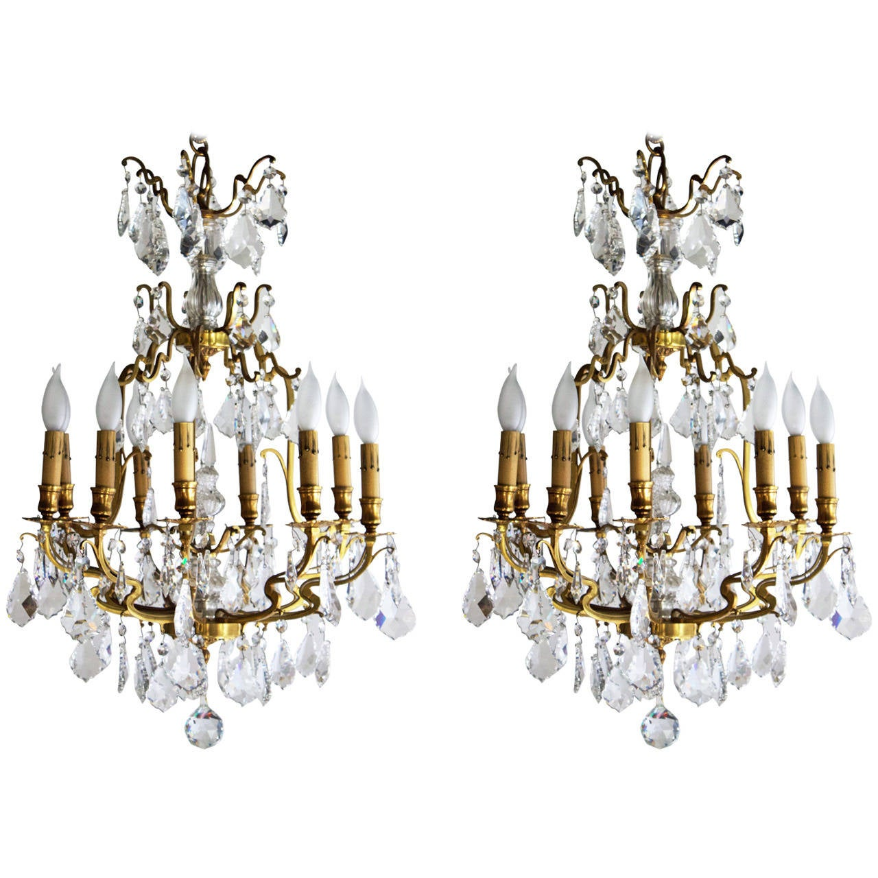 Pair of Gilt Bronze and Crystal Louis XV Style Chandeliers