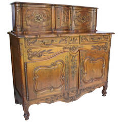 French Provencal Walnut Buffet a Glissant, 18th Century