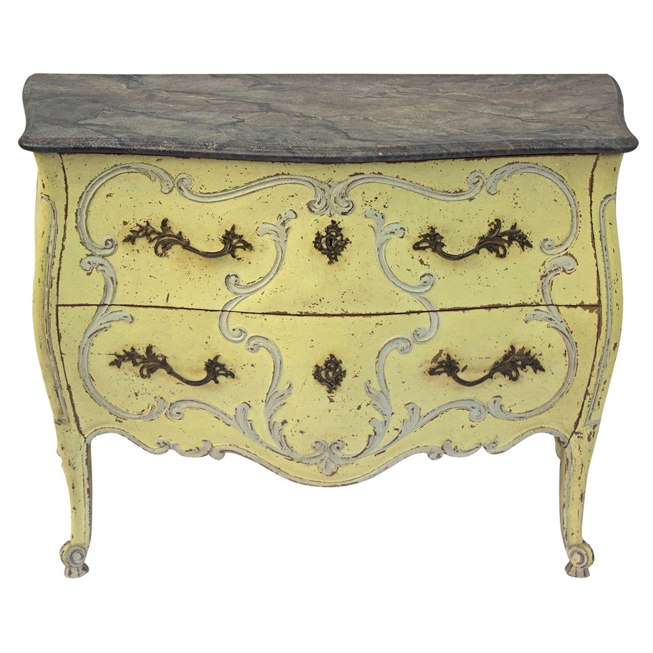 French Painted Louis Xv Style Bombe Commode At 1stdibs