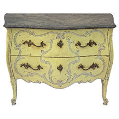 French Painted Louis XV Style Bombe Commode
