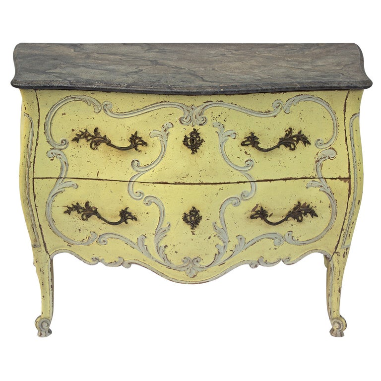 French Painted Louis XV Style Bombe Commode For Sale