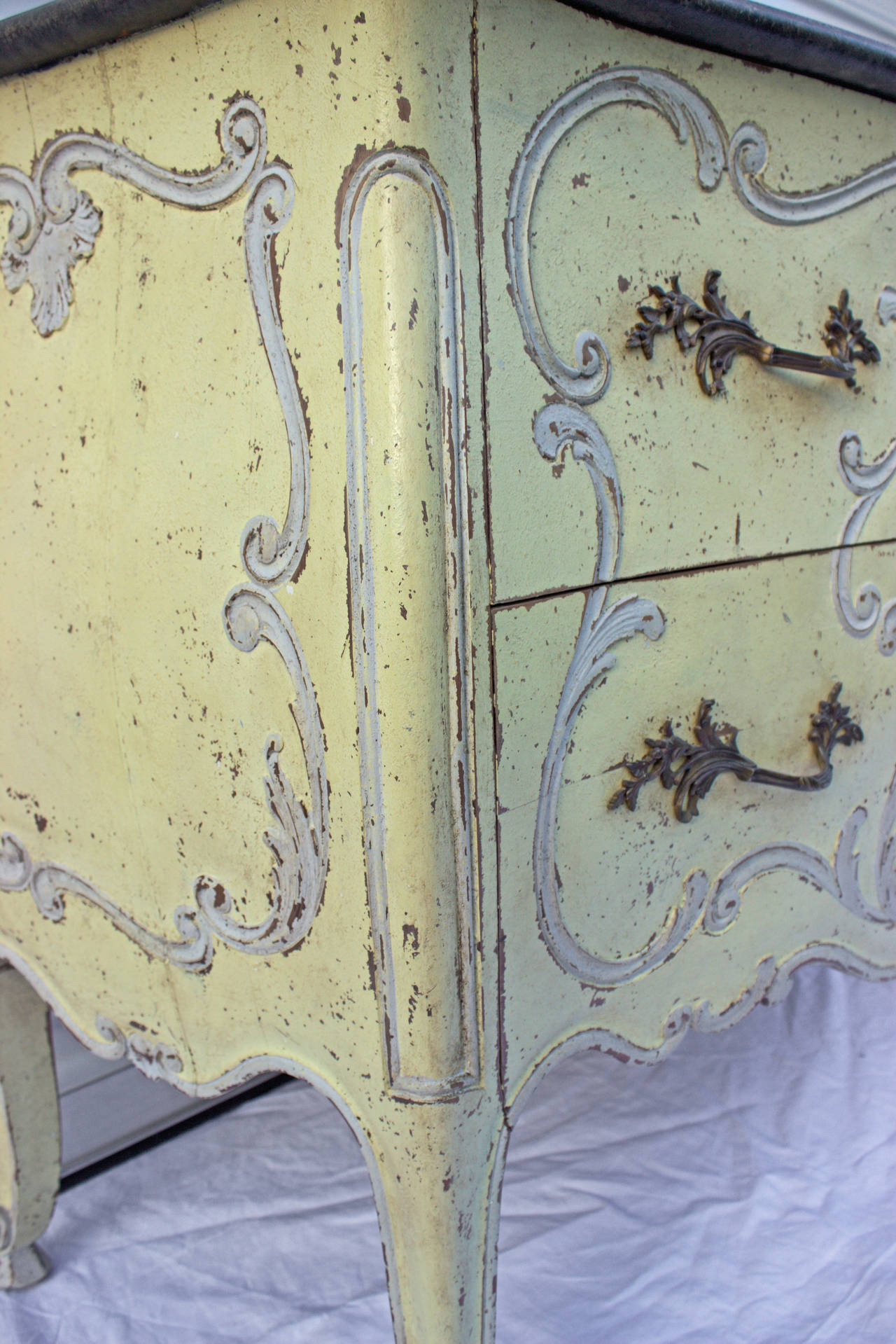 French Painted Louis XV Style Bombe Commode For Sale 2