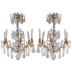 Pair of Gilded Bronze Louis XV Style Chandeliers