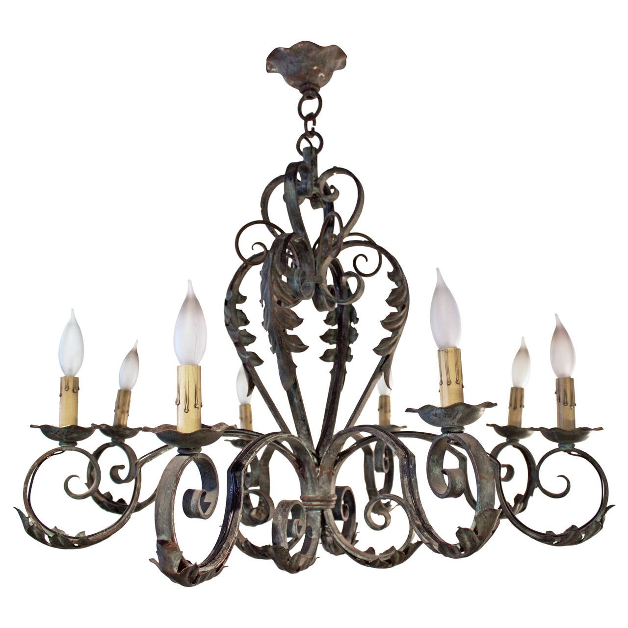French Eight-Light Wrought Iron Chandelier