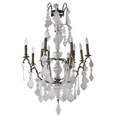 Twelve-Light Louis XV Cage Bronze and Crystal Chandelier