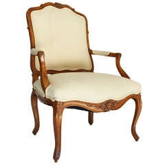 "Louis XV Style ""A la Reine"" Walnut Armchair"
