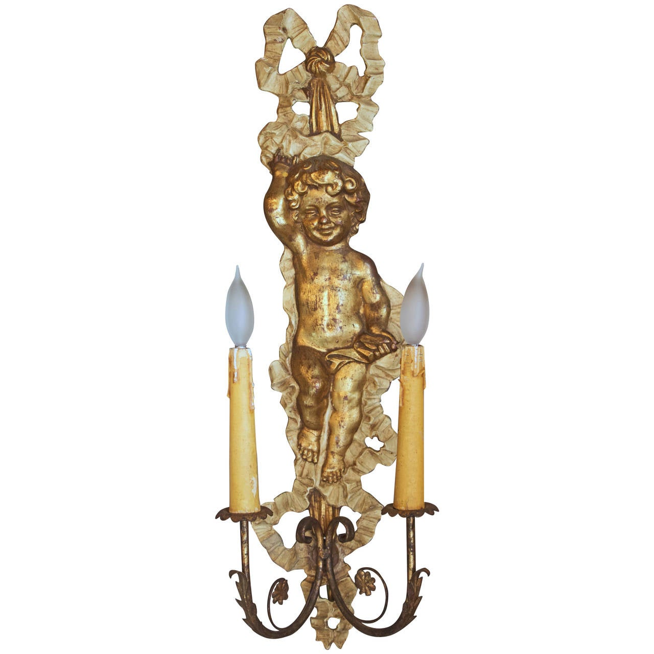 French Louis XVI Style Giltwood Two-Light Sconce